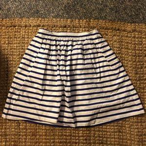 J Crew Navy & White Striped Sidewalk Skirt